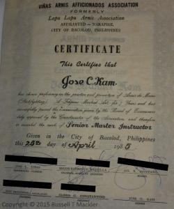 Master Certificate Joe Kam